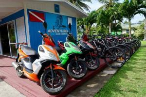 Adventure Hire fleet in Rarotonga. We rent bicycles, scooters, kayaks and snorkel gear